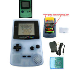Glow clear blue Rechargeable Nintendo Game Boy Color GBC Console W/ card&charger