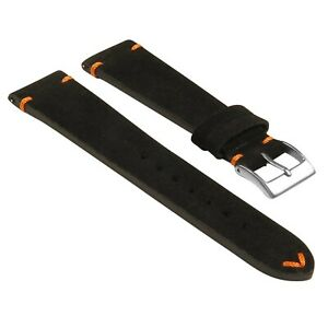 StrapsCo Suede Vintage Hand-Stitched Leather Watch Band Strap - Short Length