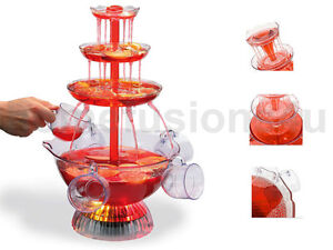 COCKTAIL FOUNTAIN ILLUMINATED ELECTRIC 6 CUP PUNCH BOWL WATERFALL DRINKS PARTY