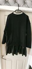 Women Black Sweatshirt Dress With Leather Skirt Size S/eur36