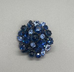 Vintage blue glass cabochon blue rhinestone pin brooch