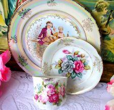 Antique Roses Demitasse Trio With Roses Cup, Iridescent Saucer & Fragonard Plate