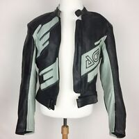 AGV SPORT Black & Gray Leather Armored Motorcycle Jacket - Size 44