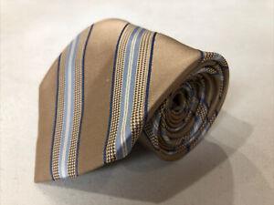 Michael Kors Men's Beige Novelty Stripe Belts Silk Tie $98