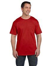 Hanes Mens Beefy T Shirt with Pocket 100% cotton Tee S M L XL 2XL 3X 5190-5190P