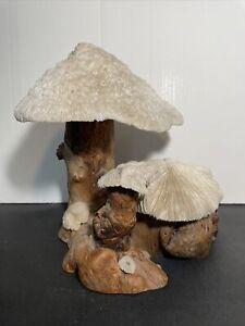 Vintage Sculpture : Handcrafted Wood and Coral Mushroom Art / BG