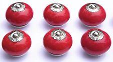 Rojo Redondo Cromado Montaje Porcelana Cerámica Armario POMOS