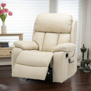 Large Single Sofa Heated Massage Manual Reclining Chairs Leather Padded Armchair