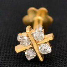 0.20cts Natural Diamond 14k Yellow Gold Designer Nose Pin