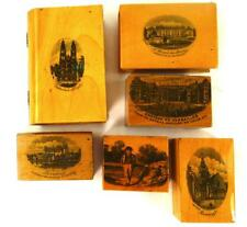 SIX ANTIQUE MAUCHLINEWARE SMALL WOODEN BOXES FRENCH SCENES TOURS VERSAILLES