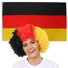 GERMAN AFRO WIG AND FLAG GERMANY NATIONAL COUNTRY FLAGS SPORTS FOOTBALL EVENT