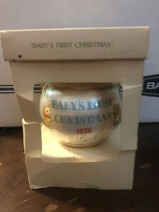 Hallmark Unbreakable Satin Ball Ornament Baby's First Christmas 1978