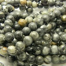 Lot of 100 Natural Picasso Marble 8mm Round Stone Beads with Black Grey & Brown