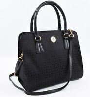 TOMMY HILFIGER Black Monogram Fabric Satchel Bag, Top Handle or Crossbody