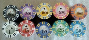 200 poker chips 2 stripe twist choice of 10 denominations