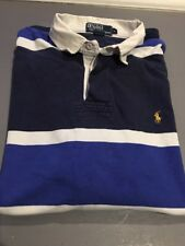 POLO BY RALPH Lauren Rugby Men Shirt, LARGE, Long Sleeve BLUE Striped, EUC