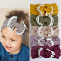 3pcs Lovely Baby Lace Nylon Headbands Bows Turban Soft Elastic Wide Hair Bands