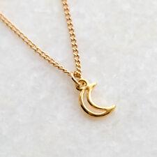 Media Luna Collar de encanto de oro-Media Luna Colgante Joyas Regalo Para Ella