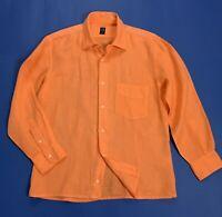 Sirio camicia uomo usato lino estiva arancione S shirt manica lunga boy T5072