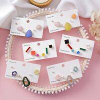 Fashion 6pcs/Set Stud Earrings Women Candy Color Geometric Irregular Glaze Gift