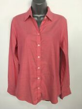 BNWT WOMENS BANANA REPUBLIC RED WHITE LONG SLEEVE FITTED OXFORD SHIRT SMALL $64