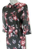 MONSOON Black Floral Print Collared 3/4 Sleeves Formal Shirt Style Dress UK 12 M