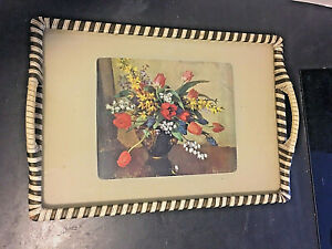 Retro Tray ,Glass top with Vernon Ward Flowers picture mid century tray