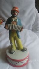 "Vintage ""Flambro"" Clown Music Box ~ Sad Face ~ Squeeze Box ~ Working"