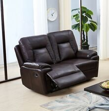 Brown Leather Gel 2 Seater Recliner Reclining Sofa Suite ROCKFORD