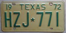 Texas 1972 License Plate HIGH QUALITY # HZJ-771