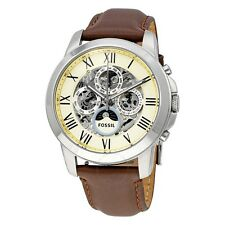 Fossil Grant White Skeleton Dial Brown Leather Automatic Men's Watch ME3027