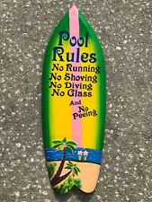 "COLORFUL 39"" POOL RULES TROPICAL SIGN WALL HANGING ART ISLAND HOME DECOR"