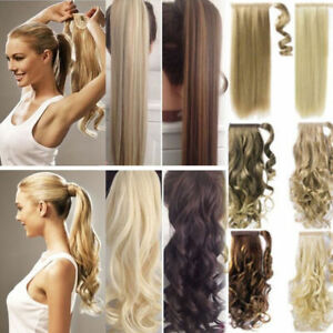 100% Real New Clip In Pony Tail Wrap Around Ponytail Curly Hair Piece Extensions