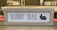 """Rae Dunn - BUNNY TRAIL - Standup Wooden Sign - 14""""L x 5""""H - Easter / Spring"""