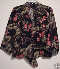 Jones New York Medium NWOT Brown Floral Hawaiian Loop Button Blouse Tie Front