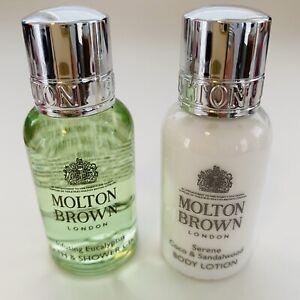 Molton Brown Eucalyptus Bath & Shower Gel Sandalwood Lotion 2 Mini Size