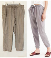 J. Crew Point Sur Size 6 Tall Gray Seaside Linen Blend Jogger Pull On Pants