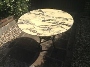 Round Marble Topped Table with Cast Iron Legs Shabby Chic