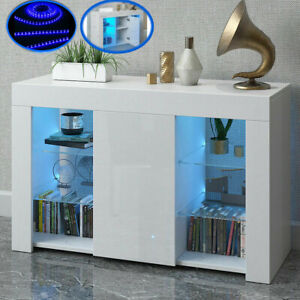 Cabinet Cupboard sideboard TV Unit Matt Body and High Gloss Doors + LED Light!