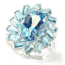 Platinum o/ Silver 5.97ctw Millenium Topaz and London Blue topaz Ring, Size 7
