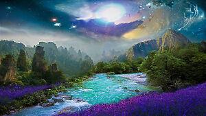 "Fantasy Purple Lavender Island Flowers Landscape Wall Art Canvas Picture 20x30"""