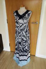 Ladies Long Maxi Dress Size 22 Black White Blue Lightweight