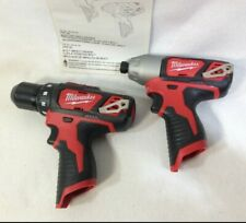 "Milwaukee 2407-20 M12 12V 3/8"" Drill/Driver & 2462-20 1/4"" Hex Impact Driver NEW"