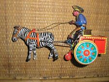 ZEBRA Tin TOY wind up cowboy & cart based on  german Galop toy Schylling