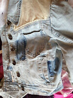 ICHI SHORT CROPPED FADED JEAN BLUE denim jacket BRAND NEW SIZE UK s 8  RRP £69