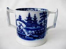 19th c Blue & White Two Handled Tankard / Pot - Cork - Edge & Malkin 1860/71