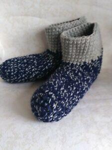 Crochet men`s wool slippers / Blue gray melange /Size USA 11-12, Home shoes