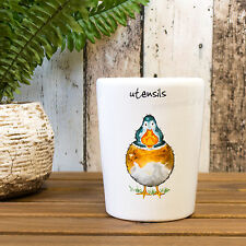 Farmyard Duck Farm Kitchen Utensil Storage Jar White Stoneware Pot Holder Caddy