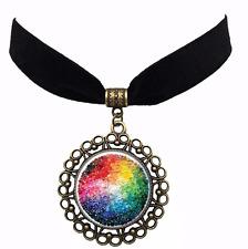 Rainbow Flag LGBT Pride Velvet Choker Time Gem Pendant Necklace Lesbian Gay 3
