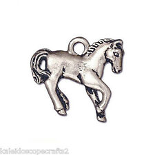 HORSE PONY JEWELRY CHARM ANTIQUED SILVER PEWTER 2 CHARMS18X20MM PC32